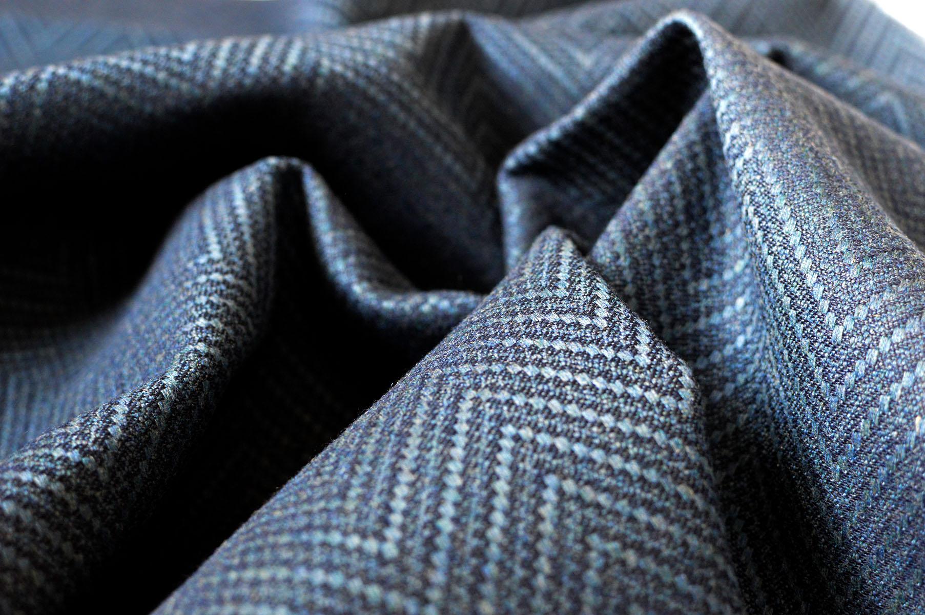 Blue Herringbone fabric