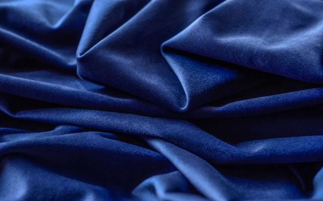 Blue velvet curtain fabric